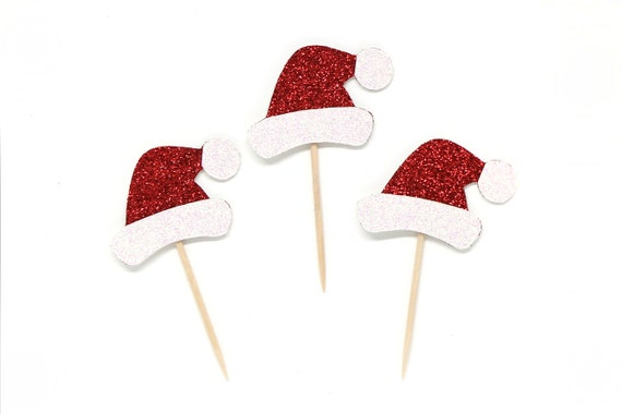 Santa Hat Cupcake Toppers - Glitter - Holiday Cupcake Toppers. Christmas Cupcake Decorations. Christmas Party Decor. Holiday Baking.