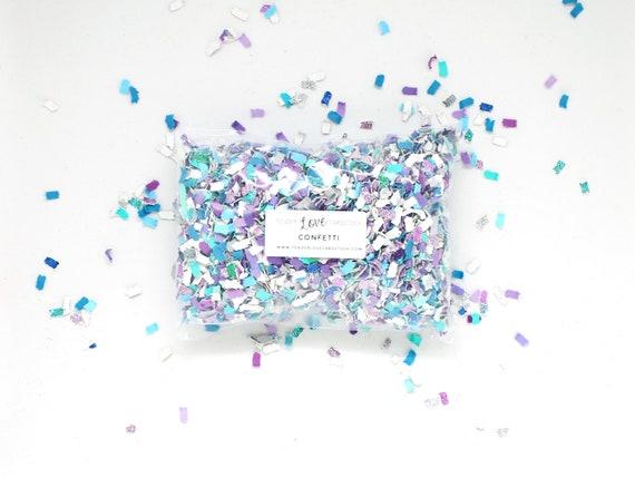 Mermaid Confetti Aqua Purple White Tossing Confetti