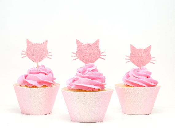 Cat Cupcake Toppers - Neon Pink Glitter