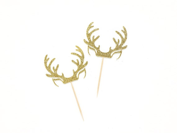Antler Cupcake Toppers - Glitter - Deer Cupcake Toppers - Holiday Cupcake Toppers. Christmas Cupcake Decorations. Holiday Baking.