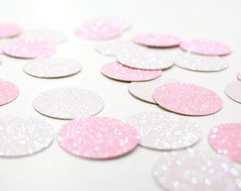 "Light Pink + White Glitter Circle Confetti - 1"" - Wedding. Bachelorette Party. Bridal Shower. Baby Shower. Engagement. First Birthday."