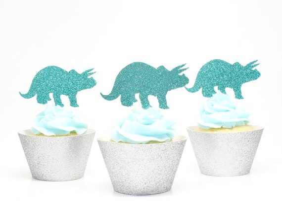 Triceratops Cupcake Toppers  -  Dino Party Decorations. Dinosaur Birthday Party.