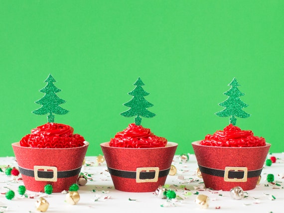Christmas Tree Cupcake Toppers - Glitter