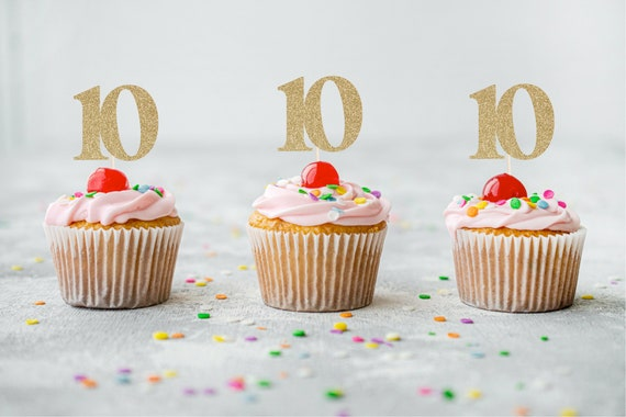 10 Cupcake Toppers - Tenth Birthday. Number Ten Cupcake Toppers. 10th Birthday. Ten Cupcake Toppers.