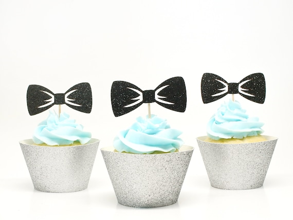 Bow Tie Cupcake Toppers - Glitter - First Birthday Party. Gender Reveal. Bowtie Cupcake Toppers. Baby Sprinkle Party Decorations.