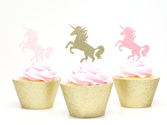 Unicorn Cupcake Toppers - Light Pink + Gold + Neon Pink Glitter