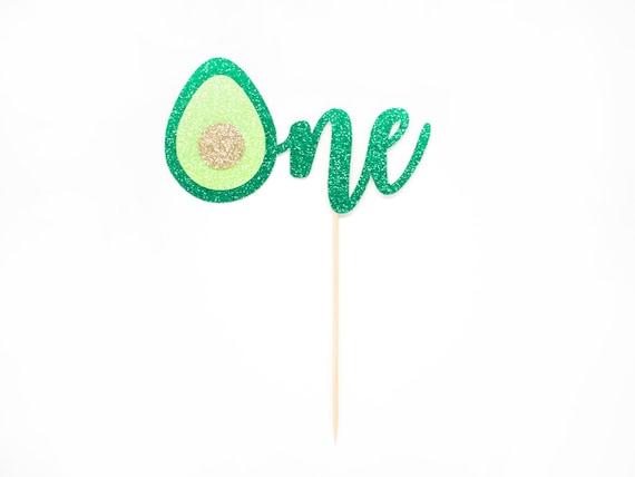 Avocado One Cake Topper - Glitter - Smash Cake Topper. First Birthday. Avocado Themed Party. First Birthday. 1st Birthday. First Year.