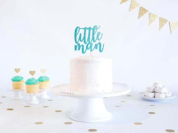 Little Man Cake Topper Glitter 1st Birthday Smash