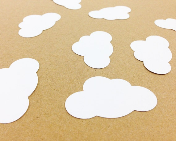 "Cloud Die Cuts - 25 Pieces | Cardstock Punches - 1.875"" - First Birthday Decor. Baby Shower Confetti. Gender Reveal Party. Cloud Decorations"
