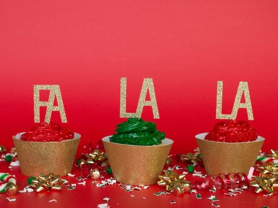 FA LA LA - Christmas Cupcake Toppers