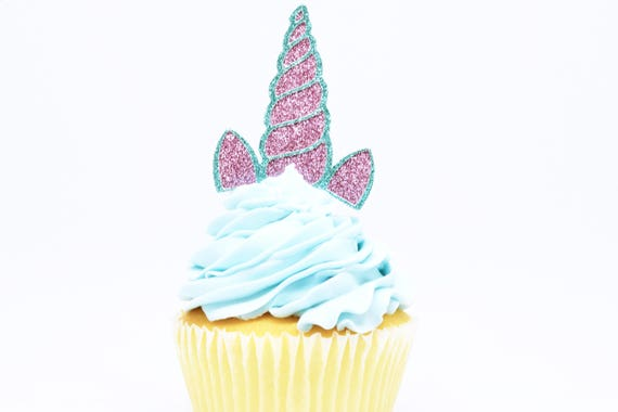 Unicorn Horn + Ears Cupcake Toppers - Lavender + Aqua Glitter - First Birthday Decor. Unicorn Party Decor. Birthday. Birthday Party Decor.