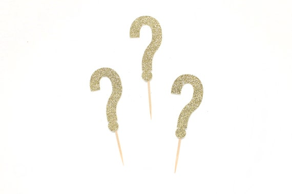 Question Mark Cupcake Toppers - Gender Reveal Party Decor. Baby Shower Decorations. He or She Cupcakes. Mystery Cupcakes.