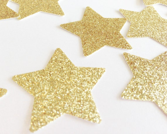 "Gold Glitter Star Confetti - 1 3/8"" - 100 Pieces - Wedding Confetti. Bridal Shower. Bachelorette Party. DIY Supplies. Twinkle Twinkle Party."