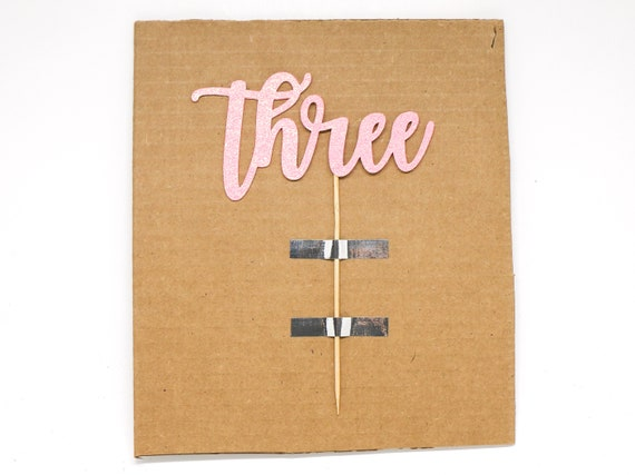 """Three Cake Topper - Ready To Ship - 5.0"""" width"""