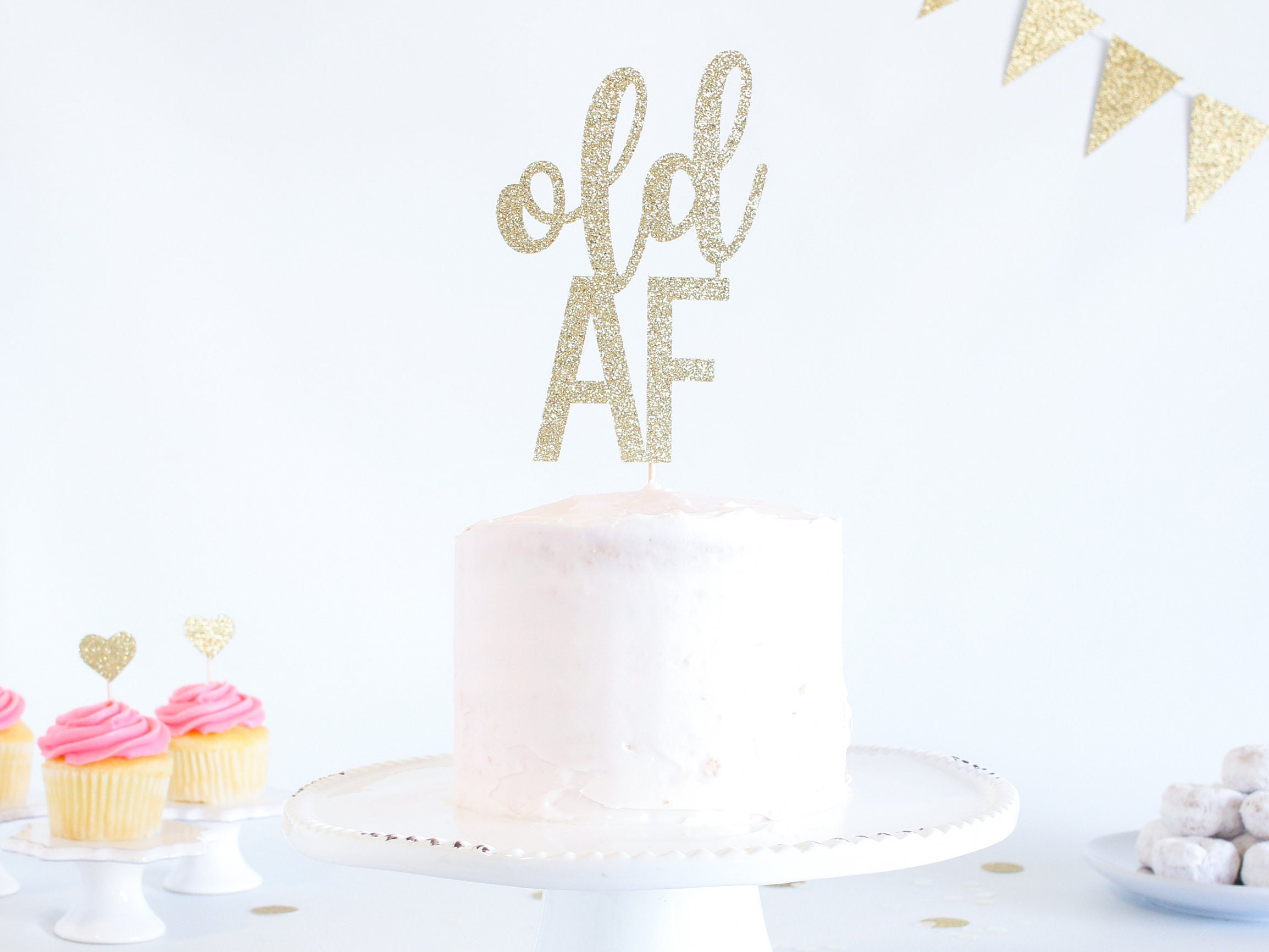 Awe Inspiring Old Af Cake Topper Glitter Birthday Over The Hill Birthday Cake Personalised Birthday Cards Beptaeletsinfo