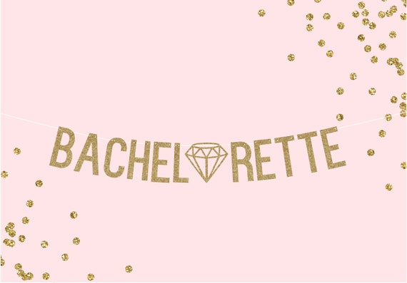 BACHELORETTE w/ diamond - Glitter Banner - Bachelorette Party Decorations. Cheers Bitches. Bridal Shower. Last Fling Decorations.