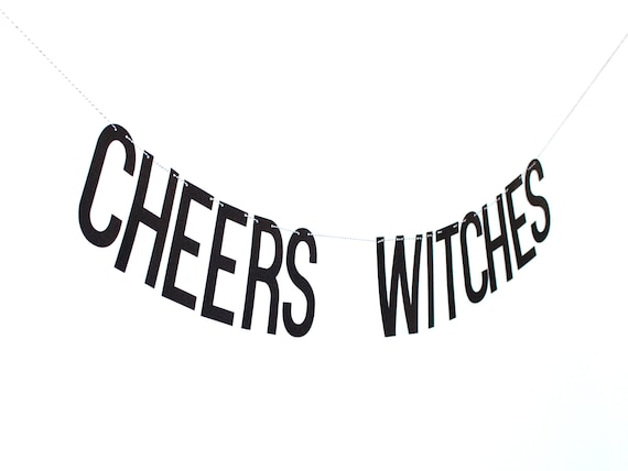CHEERS WITCHES Glitter Banner - Black Glitter Letters. Bachelorette Party Decor. Dorm Decor. Halloween Decor. Halloween Party.