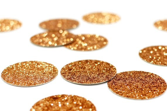 "Copper Glitter Circle Confetti - 1"" Confetti. Wedding. Bachelorette Party. Bridal Shower. Baby Shower. Engagement. First Birthday."
