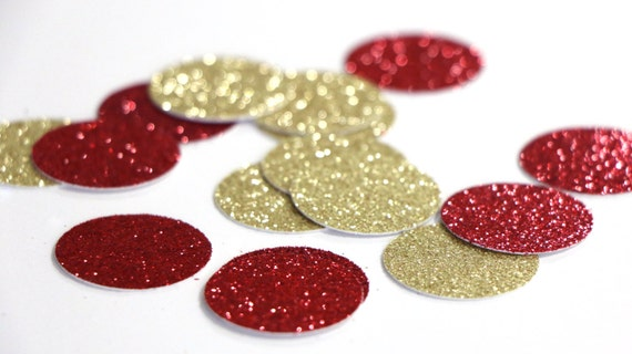 "Red + Gold Glitter Circle Confetti - 1""  Wedding. Bachelorette Party. Bridal Shower. Baby Shower. Christmas. First Birthday. New Years."