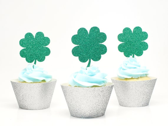 Shamrock - Four Leaf Clover Cupcake Toppers - Glitter - St. Patricks Day Party. Birthday Party.
