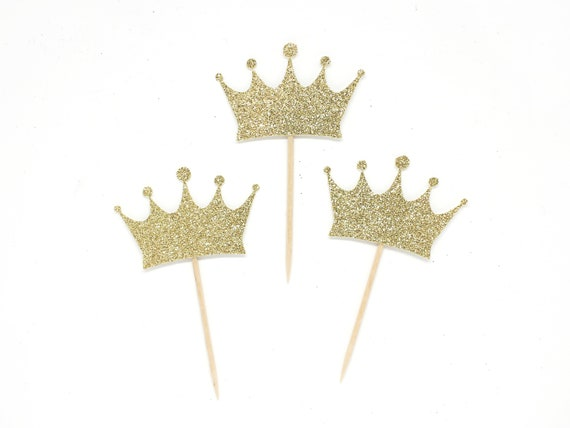 Crown Cupcake Toppers - First Birthday - Wild One Birthday Boy. Royal Theme Shower. Prince Party. Princess Party.