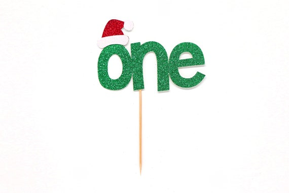Santa Hat One Cake Topper - Christmas First Birthday Cake Topper - Smash Cake Topper - Christmas Cake Topper - Holiday 1st Birthday