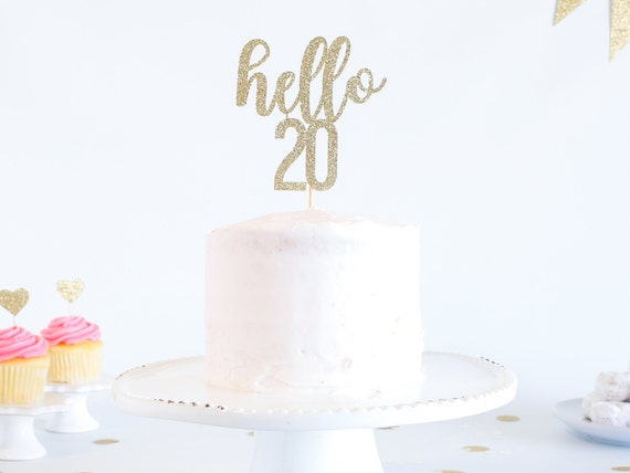 Hello 20 Cake Topper - Glitter - Birthday Cake Topper. Funny Birthday. 20th. Twentieth Birthday Decor. 20th Cake Smash.  Roaring Twenties.