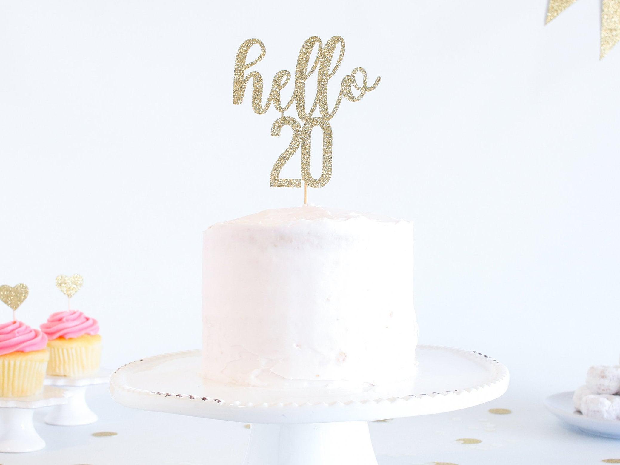Hello 20 Cake Topper Glitter Birthday Cake Topper Funny