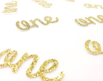 One Die Cuts - Glitter - 1.5 inch. First Birthday. Birthday Party. 1st Birthday. Highchair Decoration. One Confetti. 1 Confetti. Table Decor