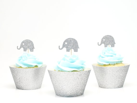 Elephant Cupcake Toppers - Silver Glitter - First Birthday Party. Elephant Party. 1st Birthday. Elephant Cupcake Decorations. Bridal Shower.