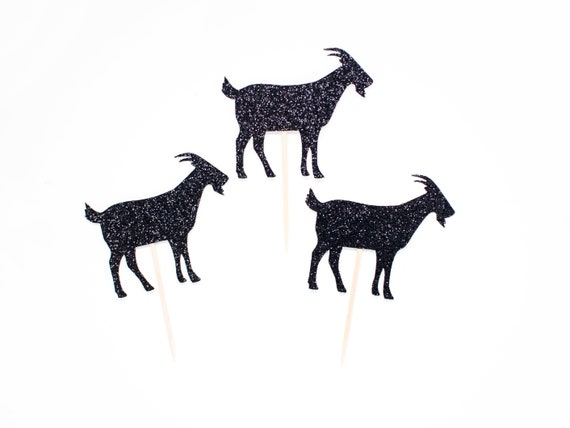 Goat Cupcake Toppers - Glitter - Farm Cupcake Toppers. Goat Party Decor. Farm Birthday Party.  Goat Party Decorations. Farm Theme Party.