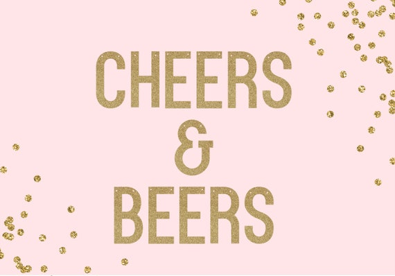 CHEERS & BEERS - Glitter Banner - Bachelorette Party Decorations. Birthday Party Decor. Dorm Wall Decor. Wedding Decoration.