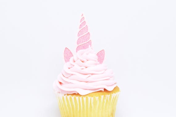 Unicorn Horn + Ears Cupcake Toppers - Pink + Light Pink Glitter - First Birthday Decor. Unicorn Party Decor. Birthday. Birthday Party Decor.