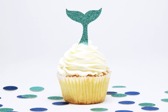 Whale Tail Cupcake Toppers - Aqua Glitter - First Birthday Decor. Whale Party Decor. Party Supplies. Bachelorette Party. Mermaid Party Decor