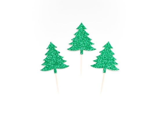 Tree Cupcake Toppers - Glitter