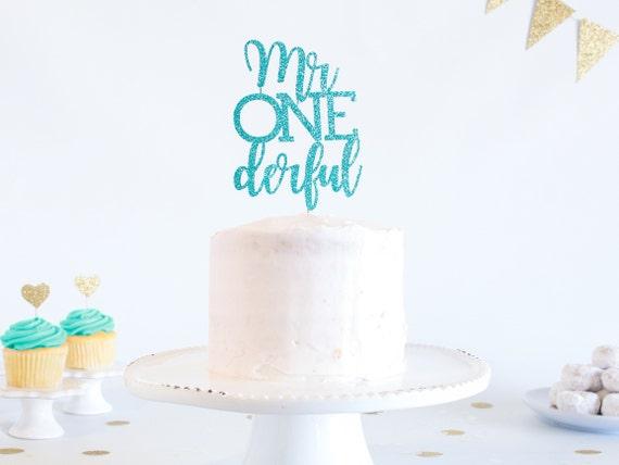Mr Onederful Cake Topper Glitter 1st Birthday Smash