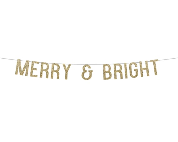 MERRY & BRIGHT - Glitter Banner - Holiday Party Decorations. Dorm Wall Decor. Quarantine Christmas. Christmas Glitter Sign. Holiday Decor.