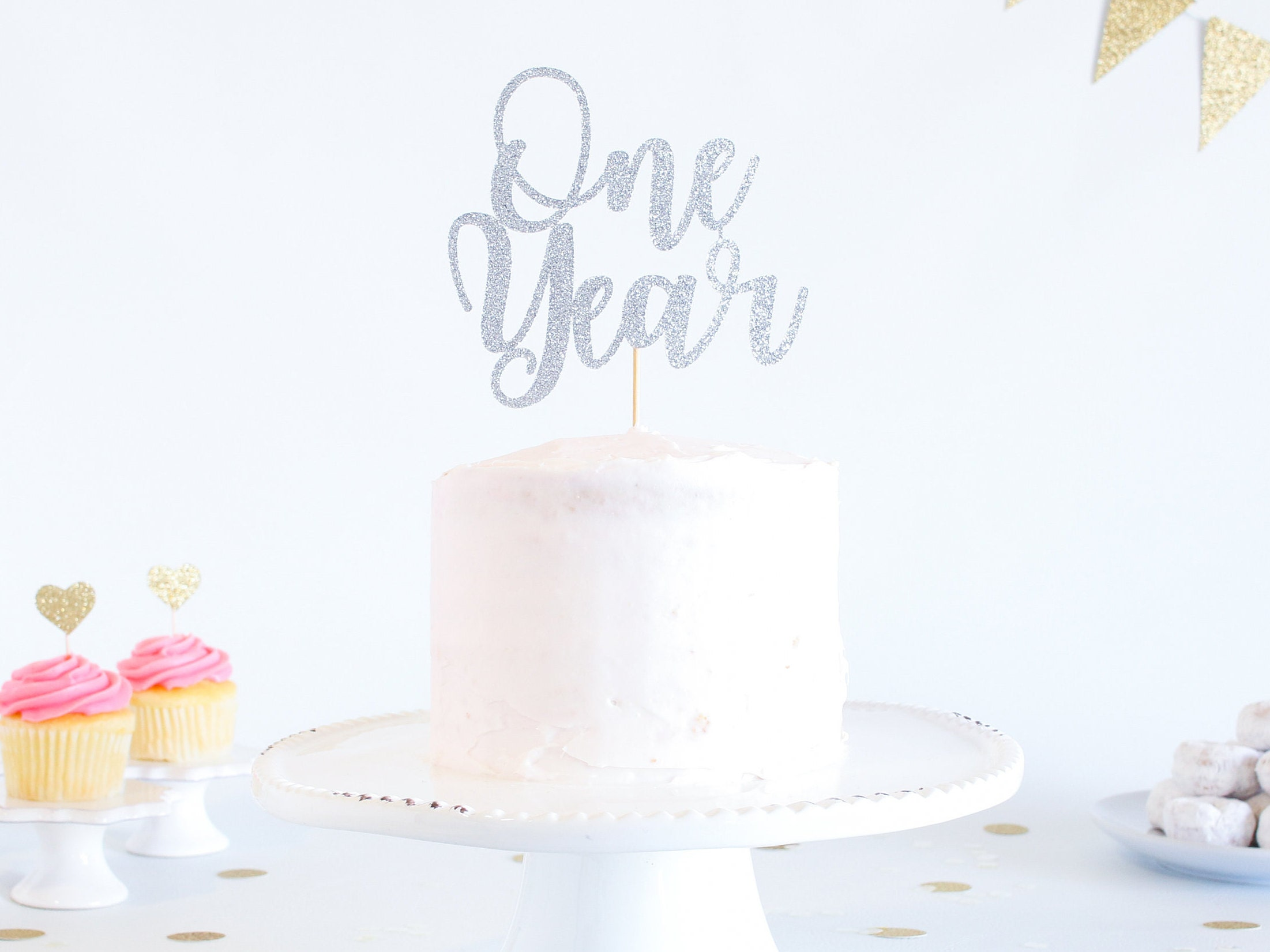 One Year Cake Topper Glitter 1st Birthday Smash Cake Etsy