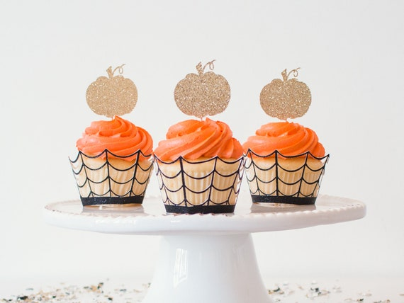 Pumpkin Cupcake Toppers - Gold Glitter - 12 Toppers - Halloween Party Decorations. Halloween Cupcake Toppers. First Birthday Party.