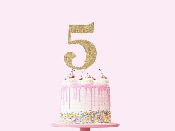 Number 5 Cake Topper - Glitter - Fifth Birthday Cake Topper. 5th Birthday. Number Cake Sign. Fifth Birthday Decorations. Turning Five.