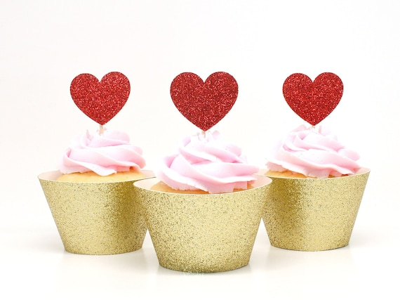 Heart Cupcake Toppers - Glitter - First Birthday Party. Bridal Shower Decor. Wedding Cupcakes. Anniversary. Valentines Day.