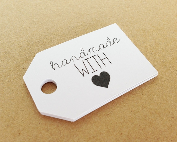 "HANDMADE With Love Tags. White. 2.0 X 1.25"" Hang Tags. Packaging. Thank You Tags. Business Tags. Custom Packaging. Gift Tags. Labels."