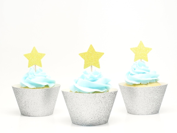 Star Cupcake Toppers - Yellow Glitter