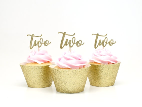 Two Cupcake Toppers - Second Birthday - Glitter