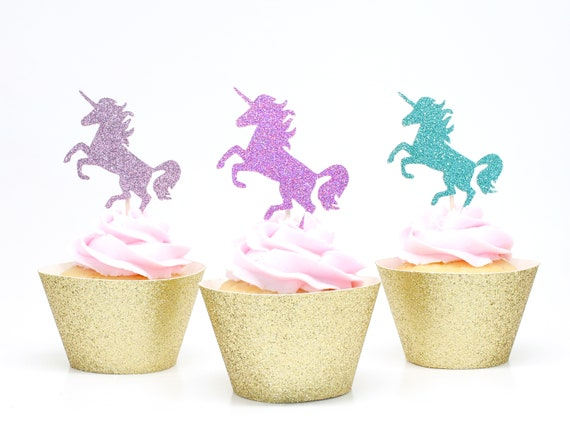 Unicorn Cupcake Toppers - Lavender + Bright Purple + Aqua Glitter