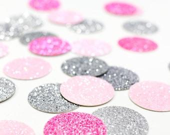 "Light Pink + Neon Pink + Silver Glitter Confetti - 1"" - Wedding. Bachelorette Party. Bridal Shower. Baby Shower. Engagement. First Birthday."