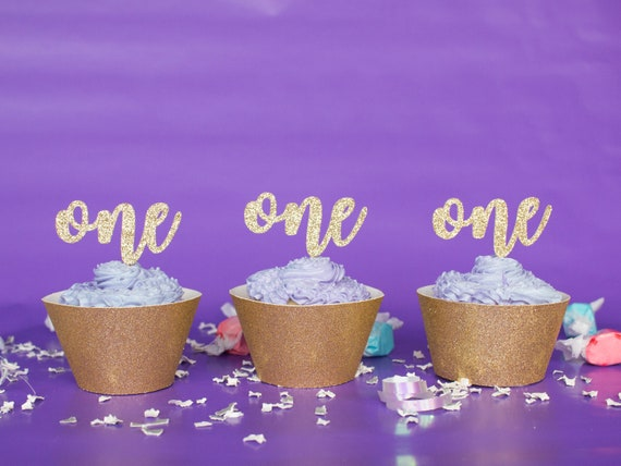 One Cupcake Toppers - First Birthday - Glitter