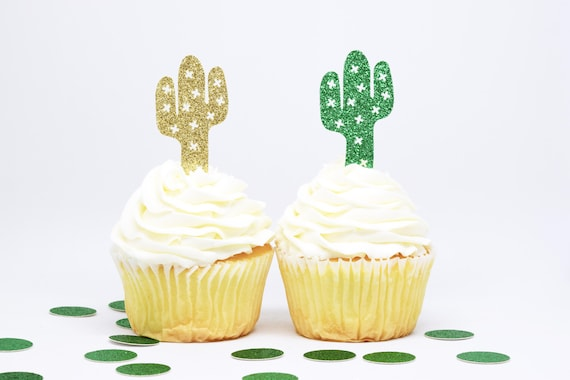 Cactus Cupcake Toppers - Glitter - First Birthday Decor. Cactus Party Supplies. Birthday Party. Cactus Party Decor. Wedding. Bridal Shower.