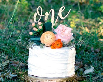 One Cake Topper - Glitter - First Birthday. One Cake Topper. Smash Cake Topper. Birthday Party. First Birthday. 1st Birthday. First Year.