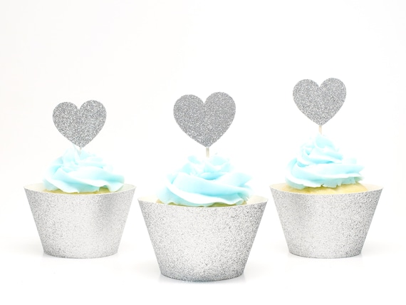 Heart Cupcake Toppers - Silver Glitter - First Birthday Party. Bridal Shower Decor. Wedding Cupcakes. Anniversary. Valentines Day.